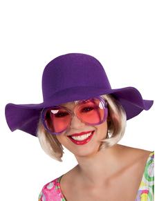 Grand chapeau violet femme